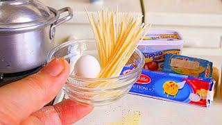 MINIATURE FOOD COOKING PASTA EGG MILK & CHEESE | KITCHEN SET | ASMR