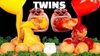 [TWINS MUKBANG] Spicy Chicken & Cheese Chicken Real Sound Eating