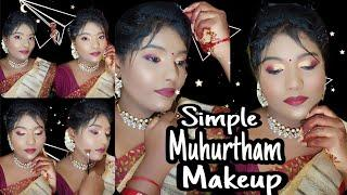 How To do Simple South Indian Bridal Makeup Look|| Muhurtham Makeup Look For Bride. Tamilponnustyle.