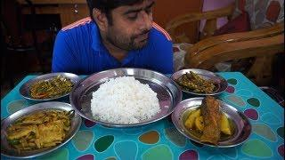 eating show with sound | eating potol vaja and egg curry with chitol fish curry