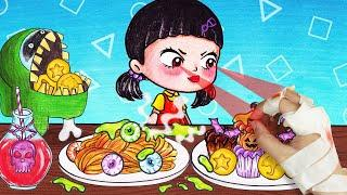 SQUID GAME l 100+ Best Food Challenges and Cool Hacks ASMR l Stop Motion Paper Animation