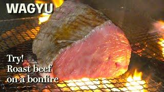 【WAGYU】(English Ver③) Japanese meat master grills a large chunk of beef in a camp!