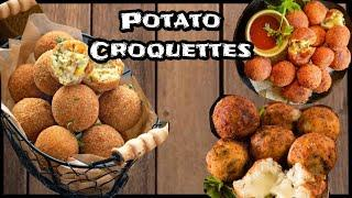 Potato croquettes recipe~perfect cafe style party appetizer |Quick & easy Crispy&cheesy aloo balls