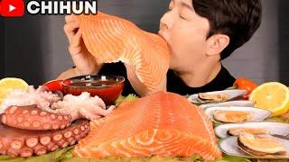 MOST POPULAR SEAFOOD | GIANT SALMON SASHIMI, OCTOPUS, MUSSELS MUKBANG | EATING SHOW