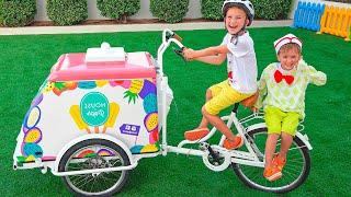 Niki pretend play selling ice cream and want new ice cream carts