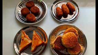 One Filling Four Snacks Recipes - Potato Buns, Sandwich, Bread Rolls, Tikki - Ramzan Snack Recipes