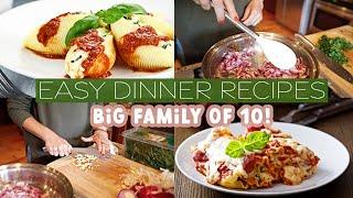 ✨ Easy Dinner Recipes✨ //Cook with Me for our Large Family of 10 // Lasagna Roll Up + Spinach Shells