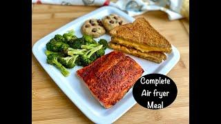 Complete Air Fryer Meal Ready in 30 Minutes|4 Easy Air fryer Recipes|Broccoli Salmon sandwich cookie