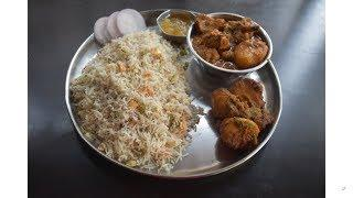 Eating Show Video with Recipe (Veg Pulao , Aloo Dum , Bengali Chicken Curry with Chutney)