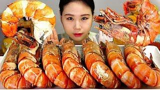 SUB 킹타이거새우 Giant King Tiger Prawn Shrimpt Mukbang Eating Sound 먹방