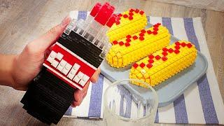 Stop Motion Cooking - Making Cheesy Fried Hot Dogs From Lego In Real Life ASMR 4K