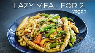 VEGAN LAZY MEAL FOR TWO RECIPE | ASIAN NOODLE DINNER or LUNCH IDEA!