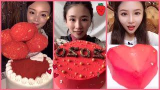 ASMR RED FOOD ll ROLL CAKE, MOUSE CAKE, CAKE, ICE CREAM,... ll KWAI EATING VIDEO