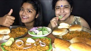 Huge Lunch! Mumbai Street Food Pav Bhaji Eating | Eating Sounds | Eating Show | Indian Mukbang