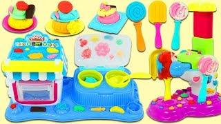 Making Huge Play Doh Ice Cream & Treats with Double Desserts & Perfect Pop Maker Sweet Shop Playset!
