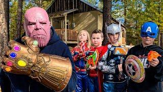 Avengers Hero Kids Return To Nerf Battle Thanos - Pretend Play