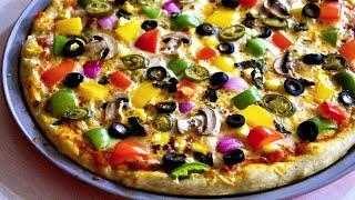 ⭐Homemade Pizza Video Recipe, Start to Finish Pizza Recipe with Dough, Sauce and Toppings, veg pizza