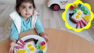 HOW TO MAKE BREAKFAST WITH PLAY DOH, PRETEND PLAY FOOD DIY//KAHVALTI TABAĞI