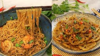 2 Easy Recipes With Ma La Tang Sauce (Shrimp Noodle Recipe and Spicy Lotus Root Salad)