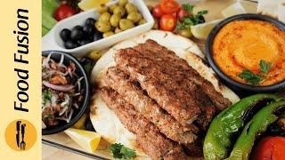 Lebanese Platter With Adana Kabab & Roasted Pepper Hummus Recipe By Food Fusion (Bakra Eid Special)