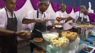 Lots of Delicious Indian Street Foods & Vegetarian Curries at a Wedding in India, Navsari, Gujarat,