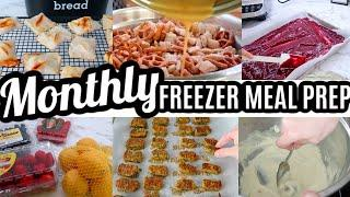 EASY MONTHLY FREEZER MEAL PREP | LARGE FAMILY MEALS | All Day Cook With Me | Meal Plan