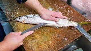 Japanese Street Food - MACKEREL PIKE Knife Skills Okinawa Seafood Japan