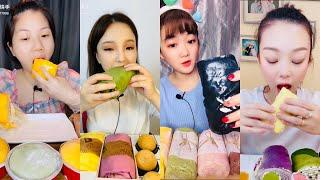 ASMR 22 Minute Special of Eating TOWEL ROLL CREPE & MOCHI DESSERTS 먹방 | 饮食表演 | การแสดงการกิน| 食事ショー