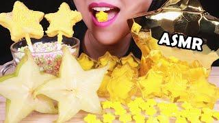 ASMR EATING SOUNDS YELLOW FOOD STAR CAKE POPS, FRUIT JELLO STAR FRUIT, JELLO FOOD FUN Jelly 먹방 咀嚼音