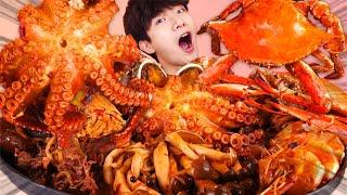 ENG SUB)Delicious! Spicy Mara Seafood Mushroom Hot Pot Eat Mukbang