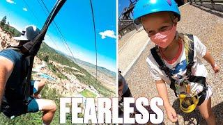 FOUR-YEAR-OLD KID CONQUERS TERRIFYING ZIPLINE OVER OLYMPIC SKI JUMP