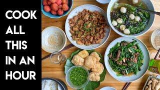 Chinese Mise En Place and Cooking a Full Meal