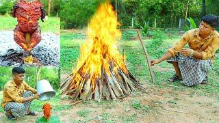 BUCKET CHICKEN MAKING | Yummy Bucket Grilled Chicken Recipe | Village Food Channel