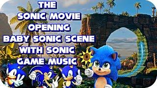 The Sonic Movie Opening Baby Sonic Scene With Sonic Game Music