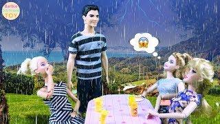 Barbie and Ken supermarket shopping to buy snacks, and long hair Princess Anna picnic in heavy rain