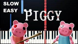 Roblox Piggy Menu Theme Song (SLOW EASY PIANO TUTORIAL)