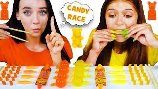 ASMR Yellow Food VS Orange Food RACE Challenge | EATING SOUNDS LILIBU