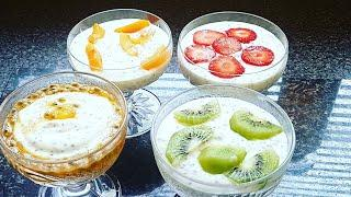 Delicieux chia desserts with fresh fruits & yoghurt