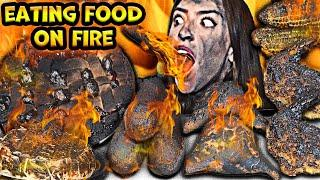 ASMR EATING FOOD ON FIRE, BUTTERFLY SHRIMP, POGOS, STRAWBERRY PIE, SAMOSA, MUKBANG 먹방