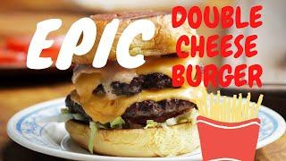 EPIC DOUBLE CHEESE BURGER GRILLED CHEESE GRILLED BEEF & BACON FRIES HOT SAUCE LONDON STREET FOOD