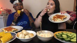 CHEESY HOMEMADE LASAGNA MUKBANG WITH ALL THE SIDES | FT TRANZKING | LONDON ( UK )