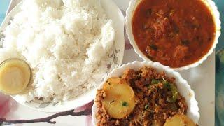 White rice,aloo kheema ,tamate ki chutney Hyderabadi simple lunch recipe in urdu hindi