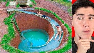UNDERGROUND WATERSLIDE BUILT WITH PRIMITIVE TECHNOLOGY!
