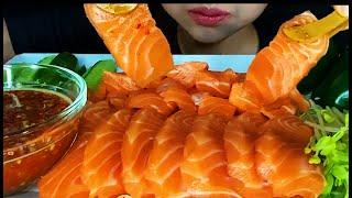 ASMR RAW SALMON  MUKBANG SEA FOOD ( EATING SOUNDS )
