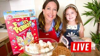 Making GLUTEN FREE Fruity Pebble Treats LIVE! (time stamps)