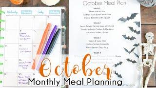 How I Monthly Meal Plan || October Monthly Meal Plan