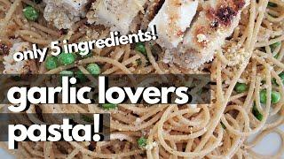 GARLIC BUTTER PASTA (5 INGREDIENT VEGAN RECIPE!)