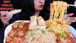 MUKBANG INDOCHINESE|CHILLY NOODLES,FRIED RICE,CHICKEN MANCHURIAN,CHILLY CHICKEN,SPRING ROLL|TALKING