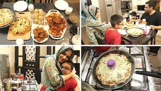Iftar Party for my Family - Jhatpat Tawa Pizza, Qeema puffs, Disco Chicken roast aur Apple Fritters