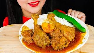 Eating SPICY CHICKEN CURRY with Basmati RICE|Eating Indian Food (Real Sounds Eating Show)